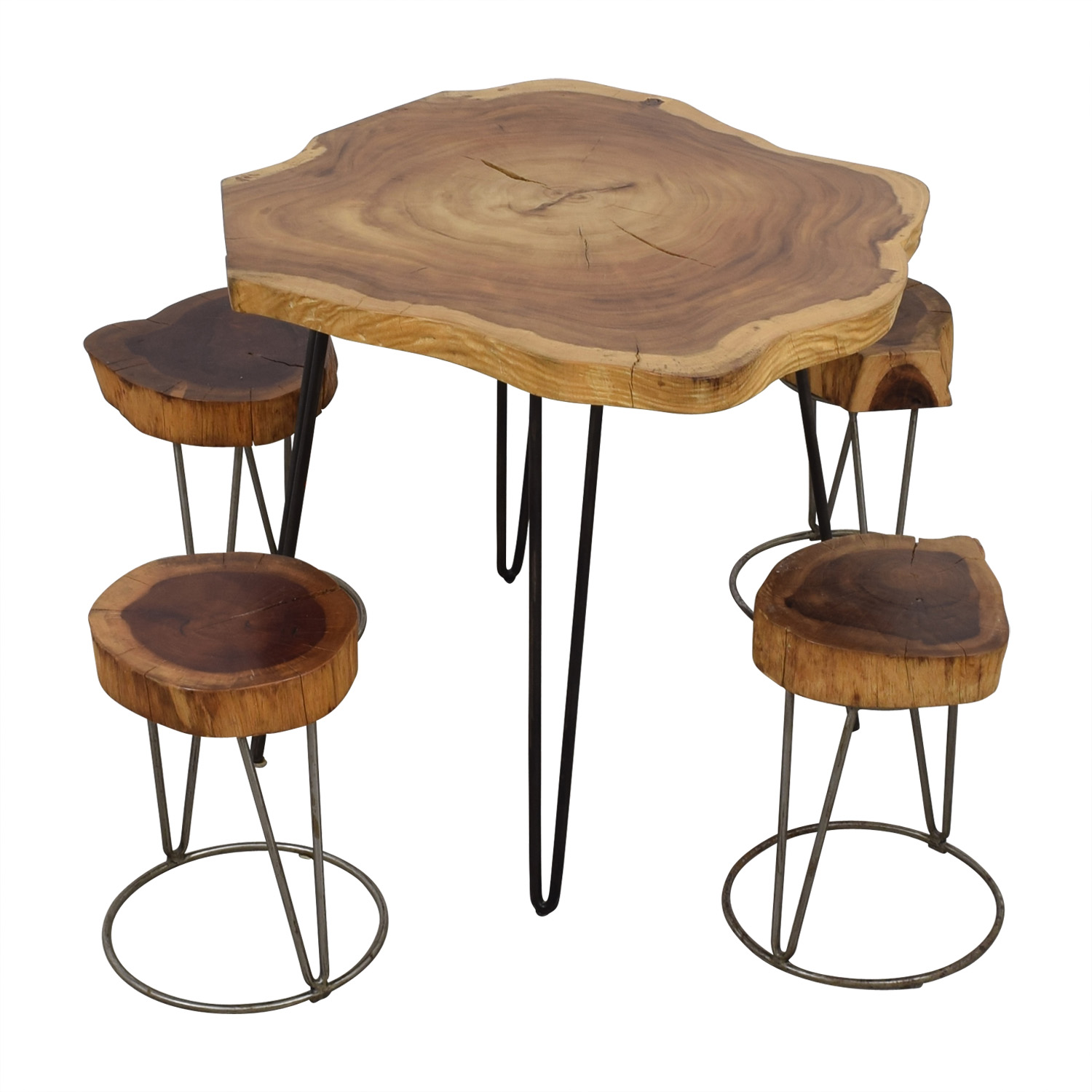From the Source From the Source Custom Raw Rustic Wooden Table and Stools used