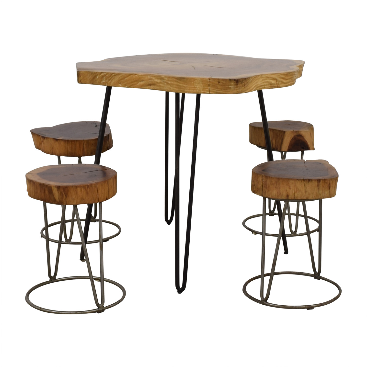 From the Source From the Source Custom Raw Rustic Wooden Table and Stools price