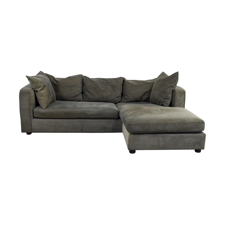 76% OFF - ABC Carpet & Home ABC Carpet & Home Grey L- Shaped Couch / Sofas