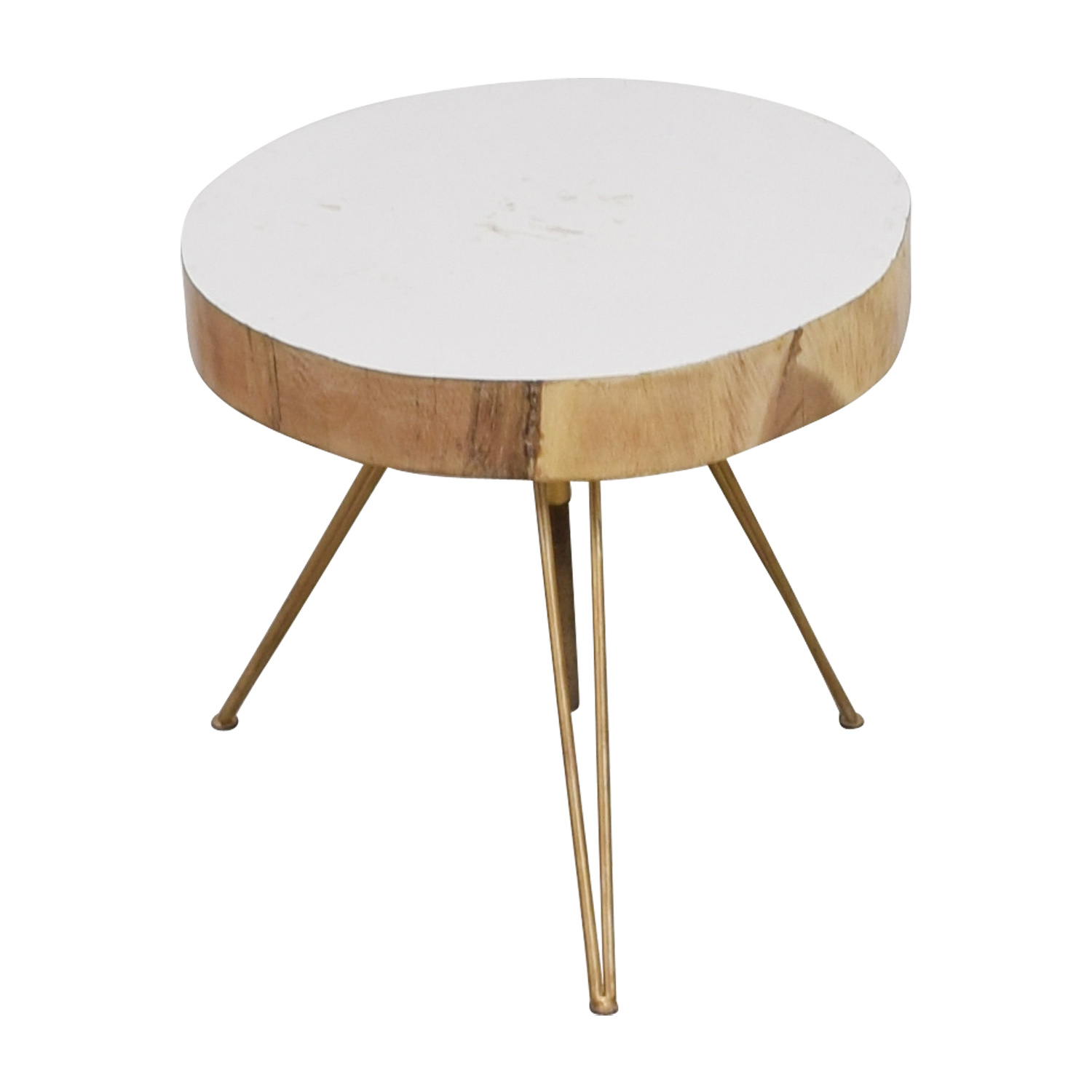 shop Biarritz Suar Biarritz Suar White Wood and Bronze Iron Accent Table online
