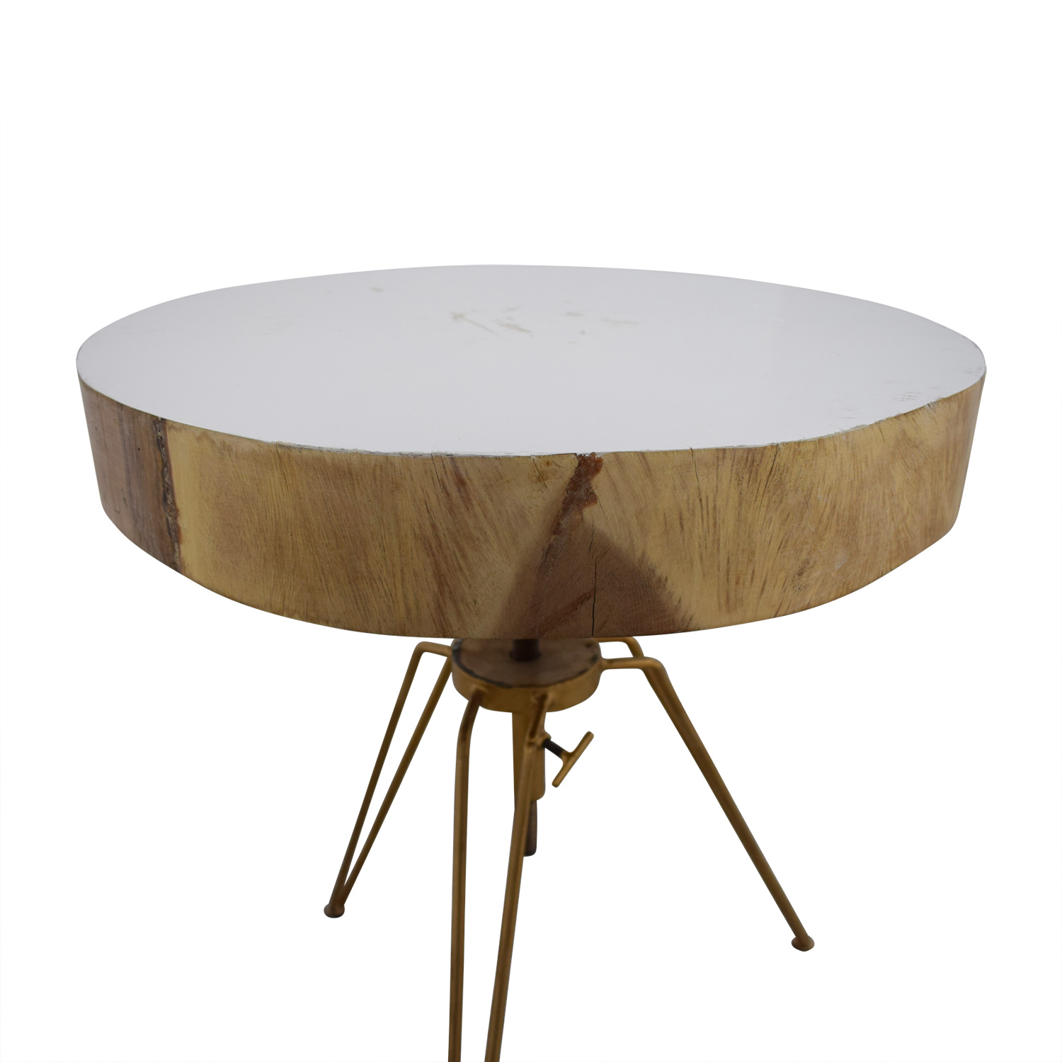 Biarritz Suar Biarritz Suar White Wood and Bronze Iron Accent Table nyc