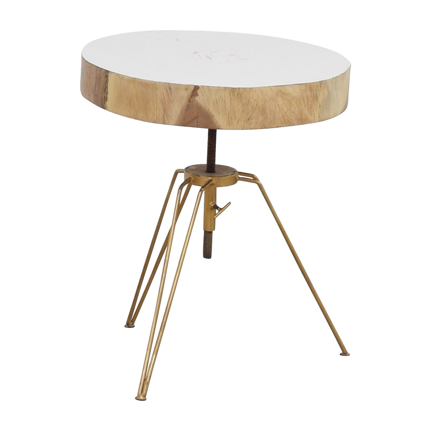 Biarritz Suar Biarritz Suar White Wood and Bronze Iron Accent Table Tables