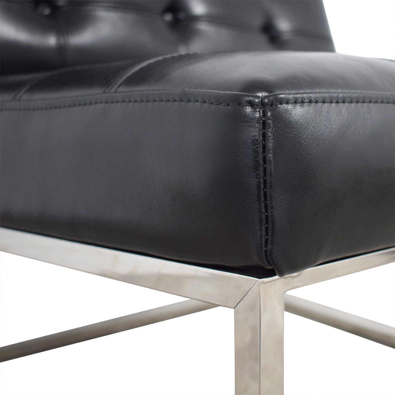 Brooklyn Black Leather Tufted Lounger discount