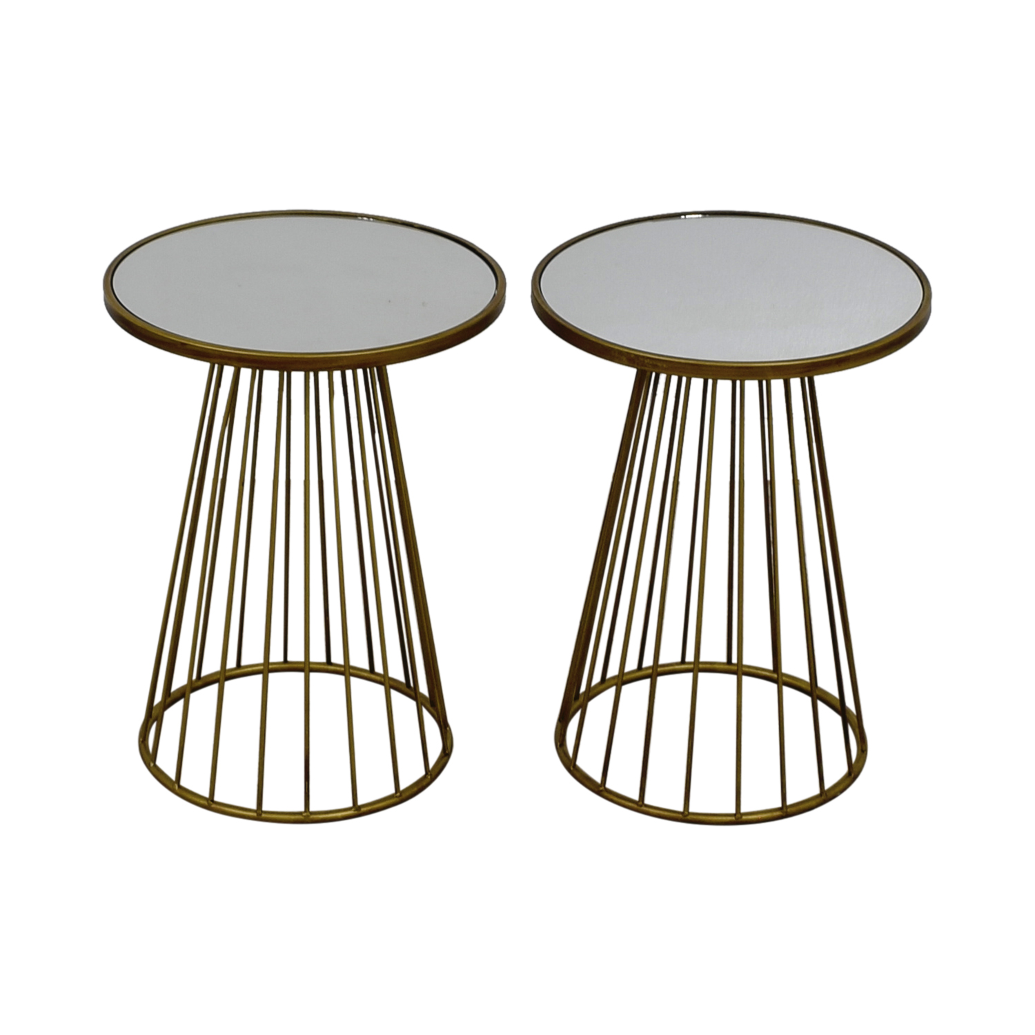 Round Dark Gold Mirrored End Tables / Sofas
