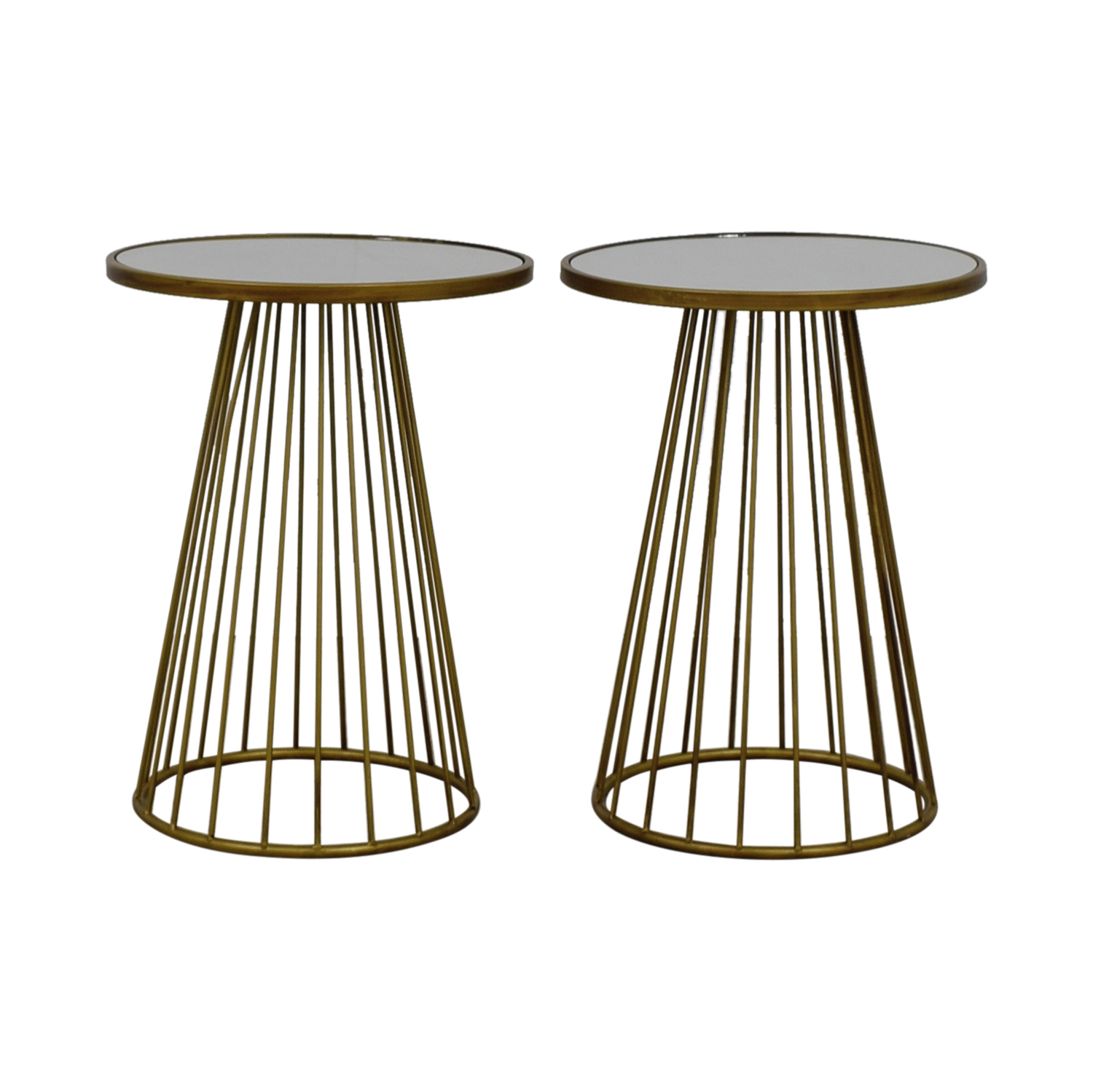 Round Dark Gold Mirrored End Tables on sale