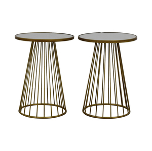 buy Round Dark Gold Mirrored End Tables