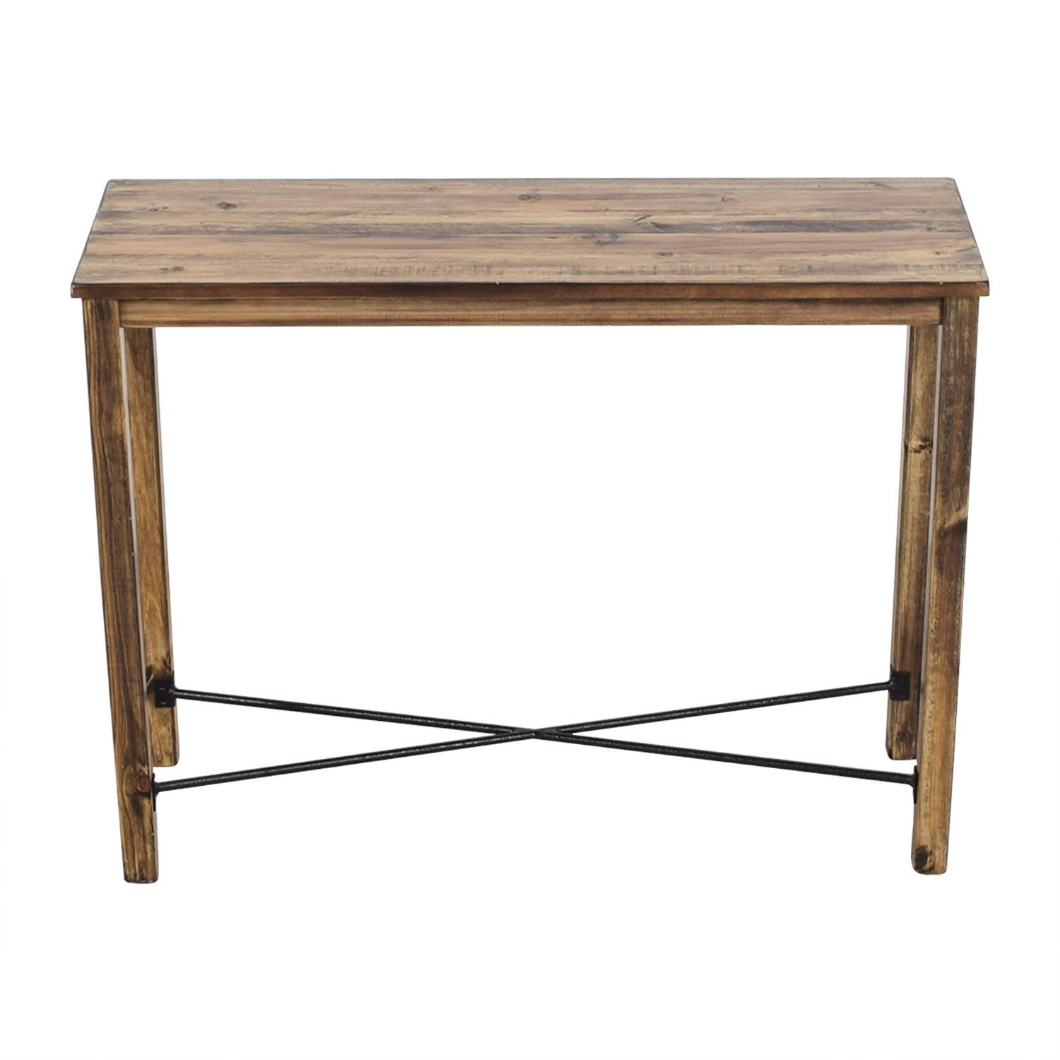 Iron Cross Bar Distressed Hardwood Console Table second hand