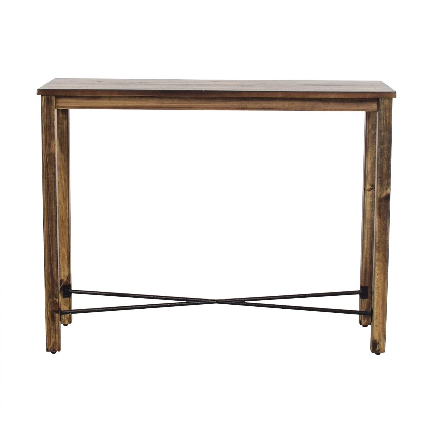 Iron Cross Bar Distressed Hardwood Console Table for sale