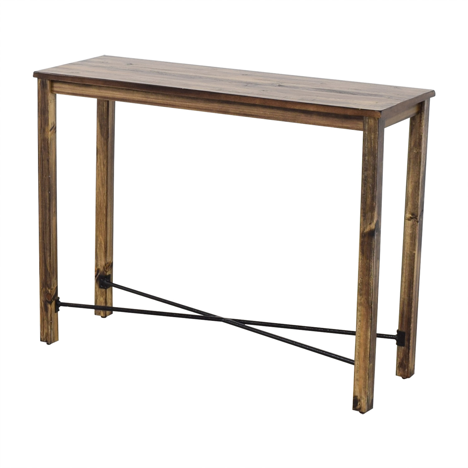Iron Cross Bar Distressed Hardwood Console Table nyc