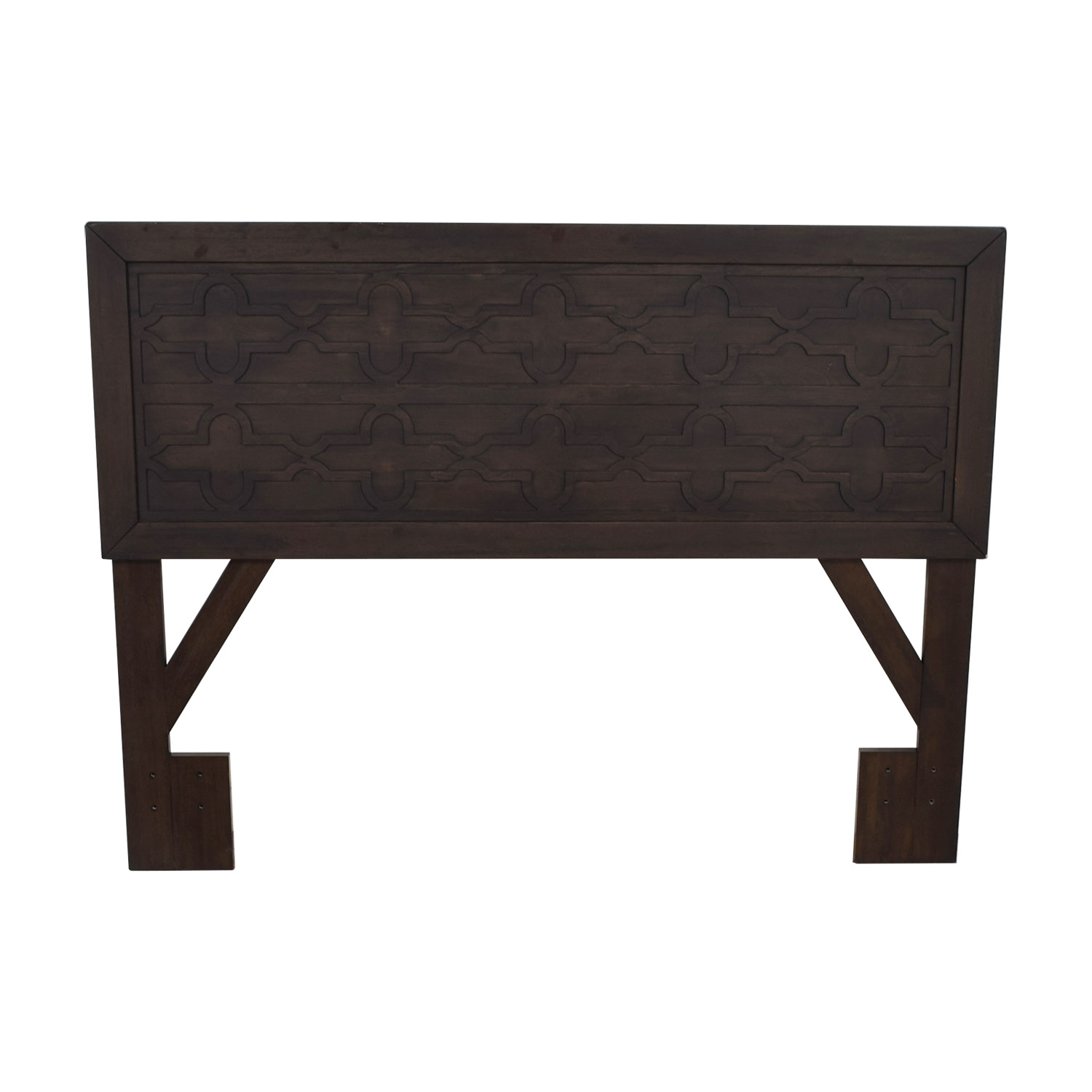 Rubberwood Veneer Carved Queen Headboard Epresso