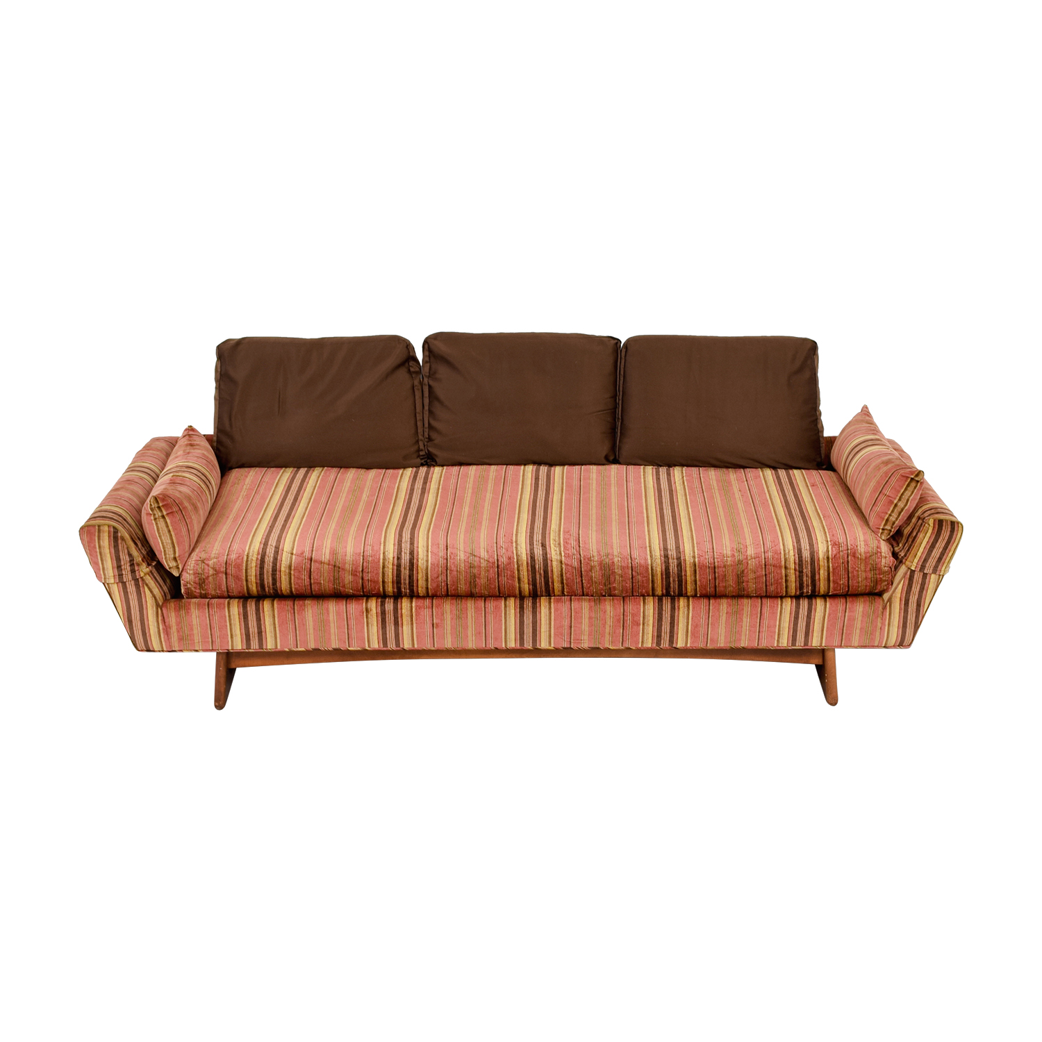 Adrian Pearsall Adrian Pearsall MCM Rose and Brown Striped Sofa for sale