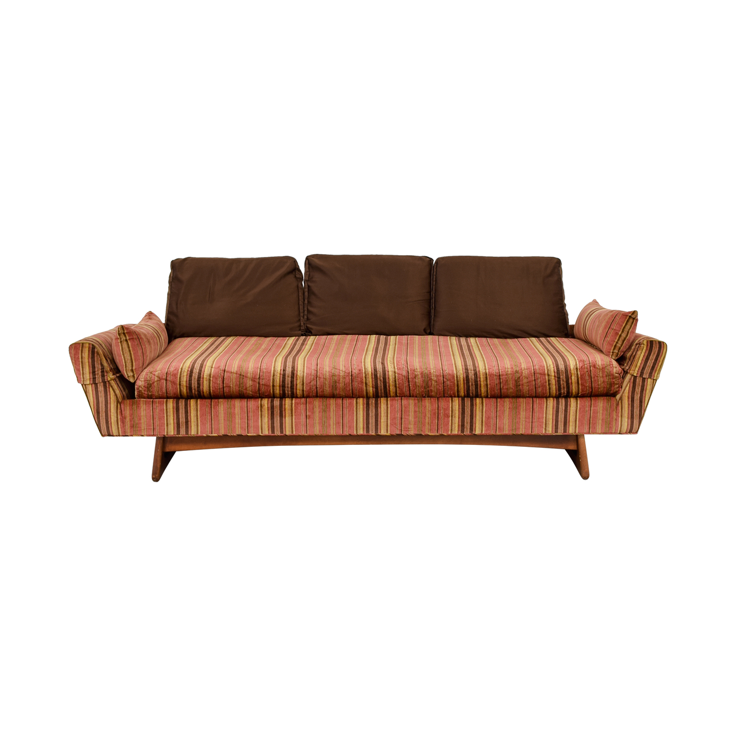shop Adrian Pearsall MCM Rose and Brown Striped Sofa Adrian Pearsall Sofas