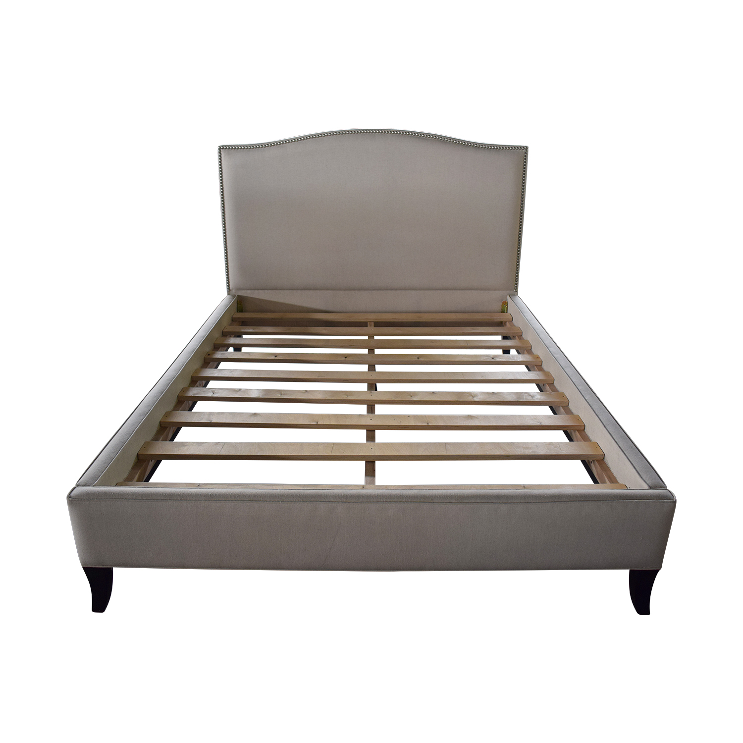 Crate & Barrel Colette II Beige Nailhead Queen Bed Frame sale