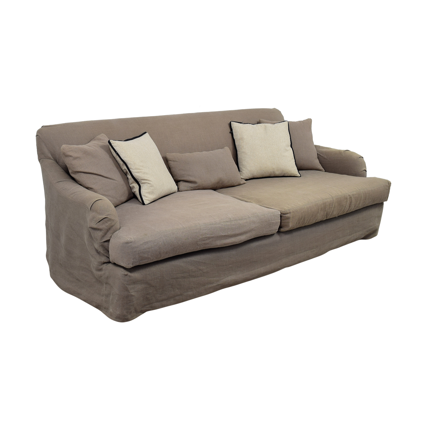 shop Cisco Brothers  Grey Linen Down Feather Filled Sofa Cisco Brothers Sofas