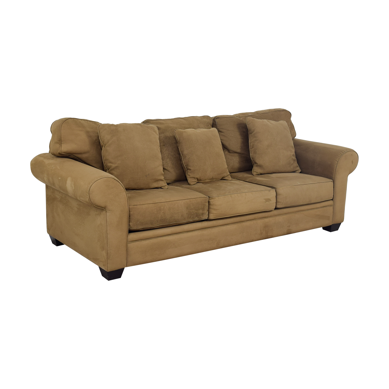 Macy's Brown Microfiber Three-Cushion Couch Macy's