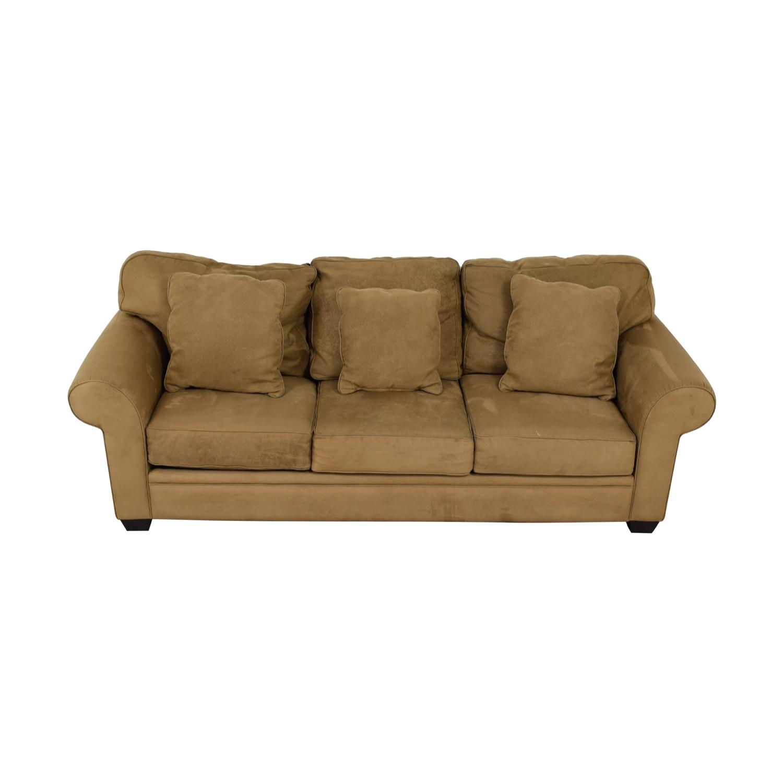 shop Macy's Brown Microfiber Three-Cushion Couch Macy's