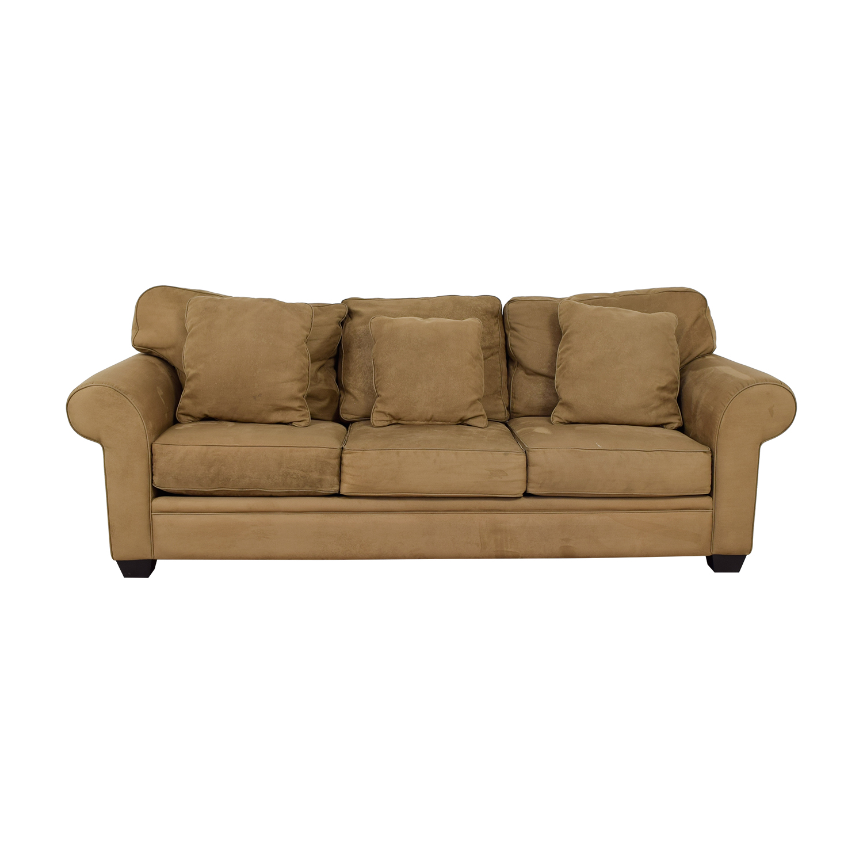 buy Macy's Brown Microfiber Three-Cushion Couch Macy's