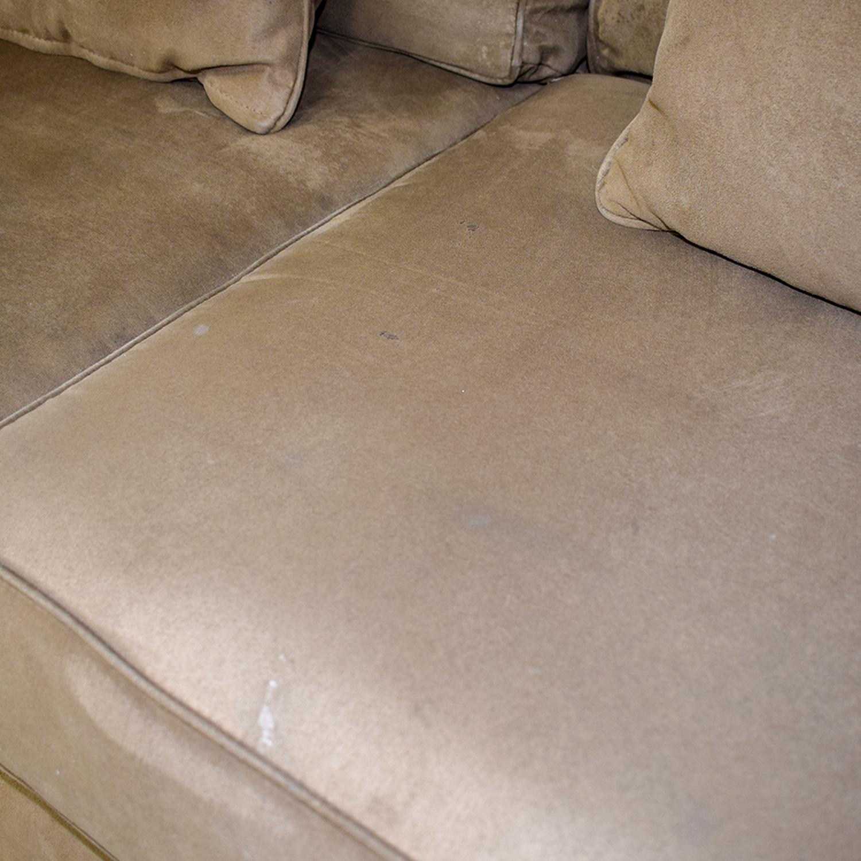 shop Macy's Brown Microfiber Three-Cushion Couch Macy's Sofas