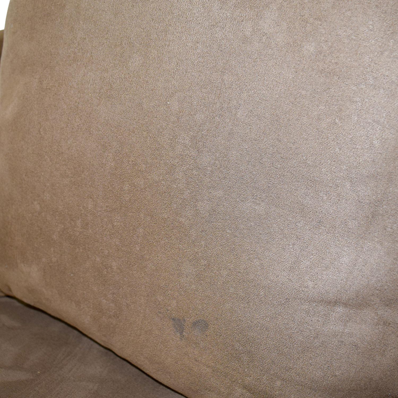 shop Macy's Brown Microfiber Three-Cushion Couch Macy's Classic Sofas