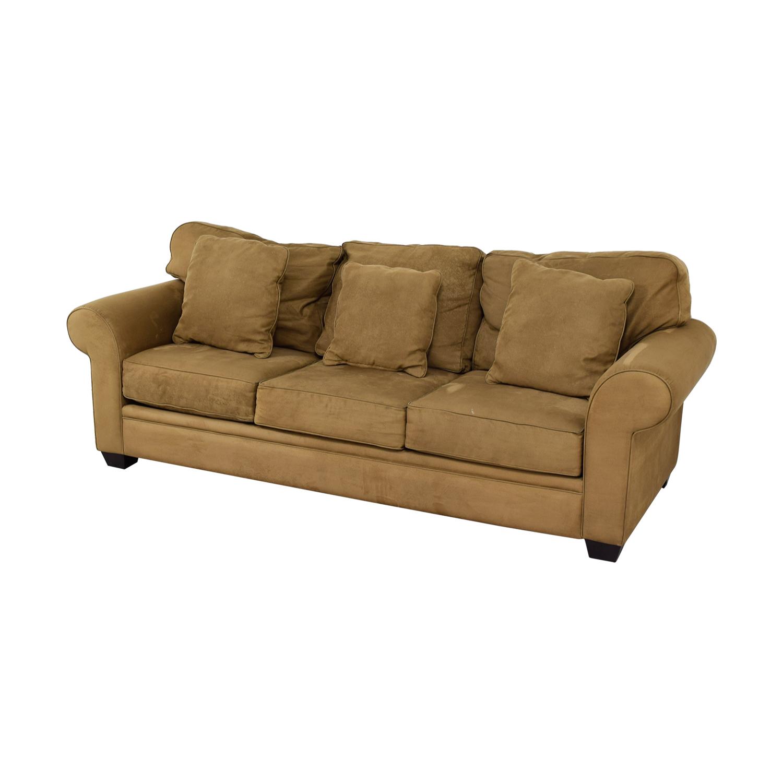 Macy's Macy's Brown Microfiber Three-Cushion Couch Sofas