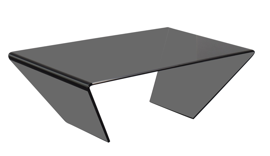 J & M Furniture Bent Black Glass Coffee Table / Tables