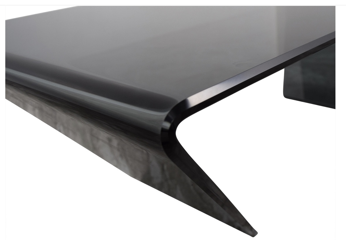 J & M Furniture J & M Furniture Bent Black Glass Coffee Table nyc