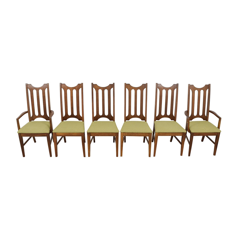 buy Bassett Furniture Bassett Furniture Mid-Century Green Upholstered Dining Chairs online