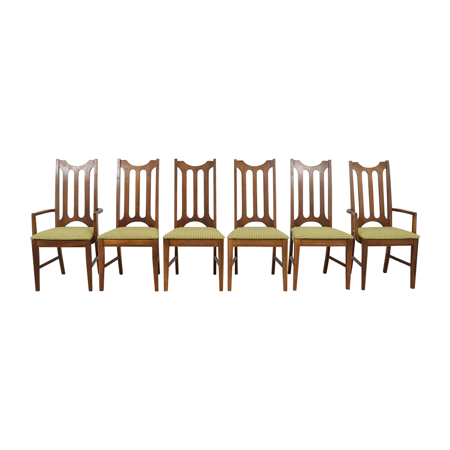 90% OFF - Bassett Furniture Bassett Furniture Mid-Century Green Upholstered  Dining Chairs / Chairs