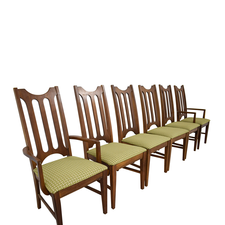 shop Bassett Furniture Mid-Century Green Upholstered Dining Chairs Bassett Furniture