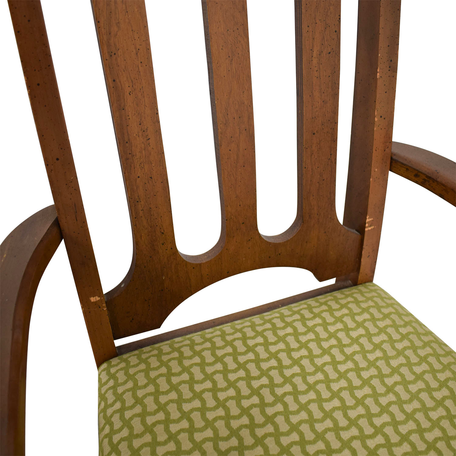 Bassett Furniture Mid-Century Green Upholstered Dining Chairs sale