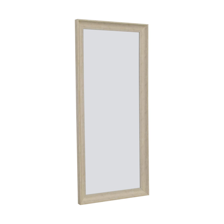 White Wooden Floor Mirror on sale