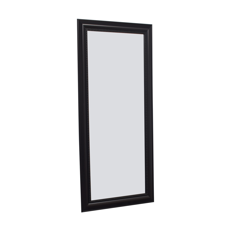 Brown Wooden Beaded Framed Floor Mirror Dark  Chocolate / Glass