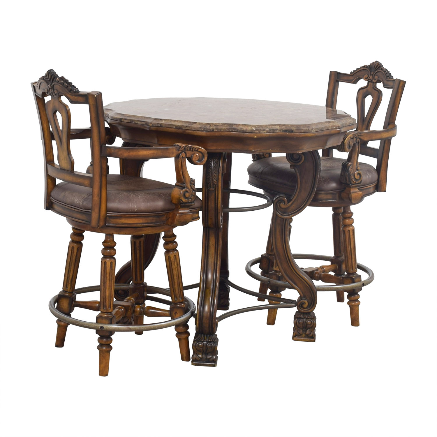 90 Off Ashley Furniture Faux Marble Pub Table And Chairs Tables