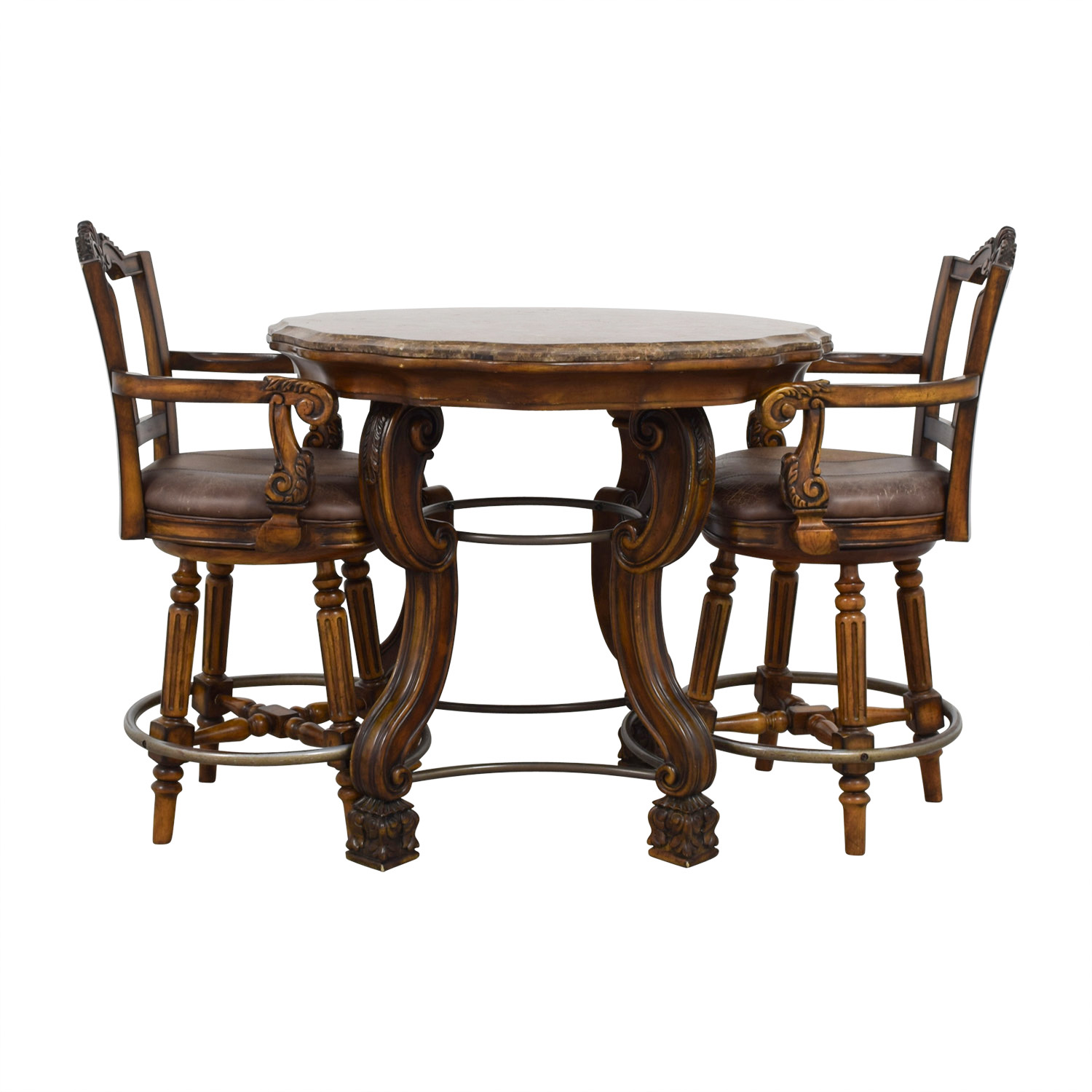 Ashley Furniture Faux Marble Pub Table and Chairs Ashley Furniture
