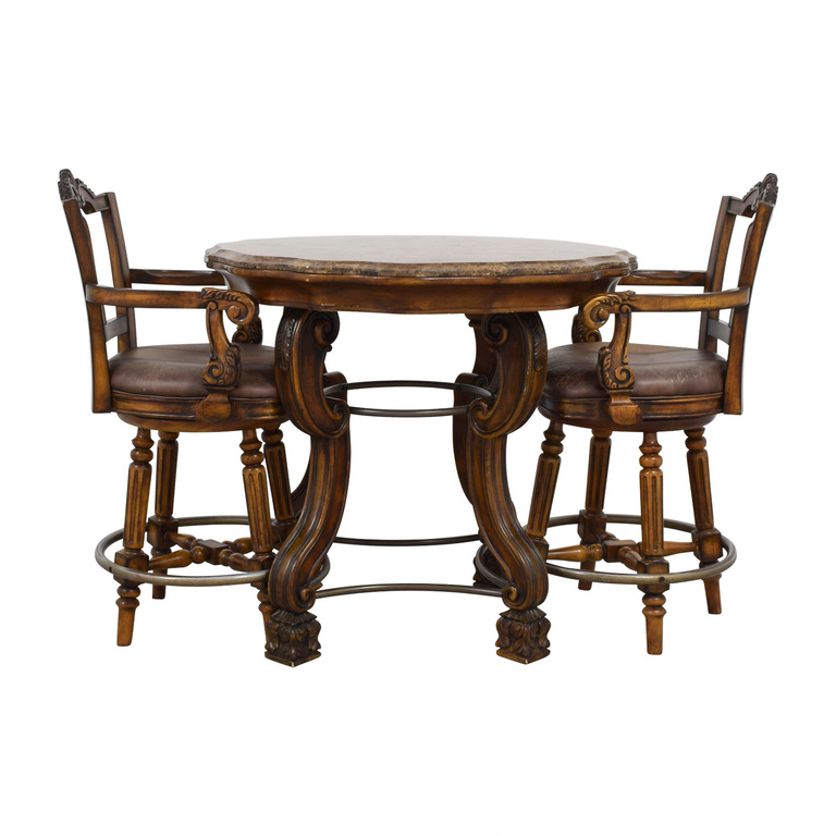 Ashley Furniture Ashley Furniture Faux Marble Pub Table and Chairs for sale