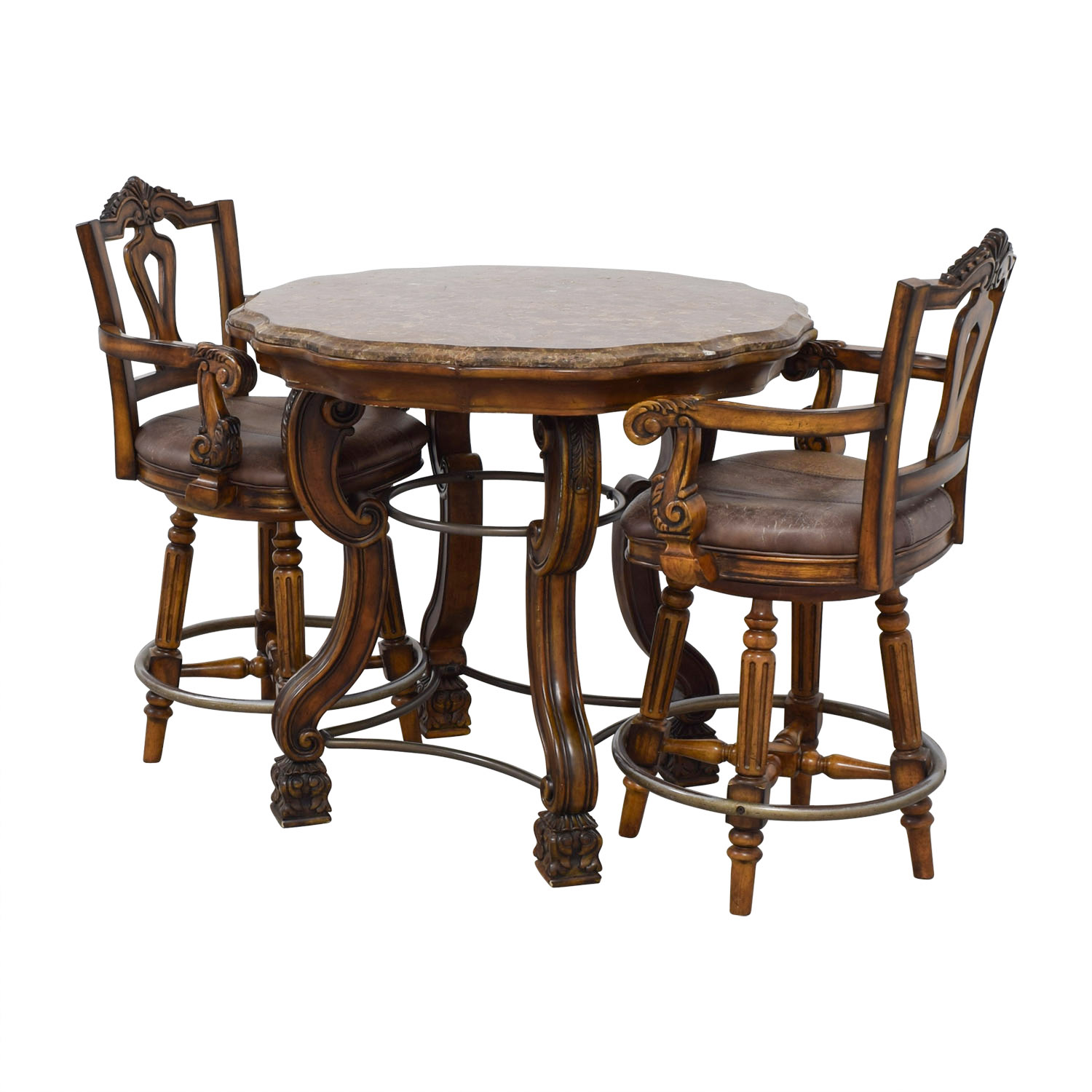 Ashley Furniture Faux Marble Pub Table and Chairs / Dining Sets