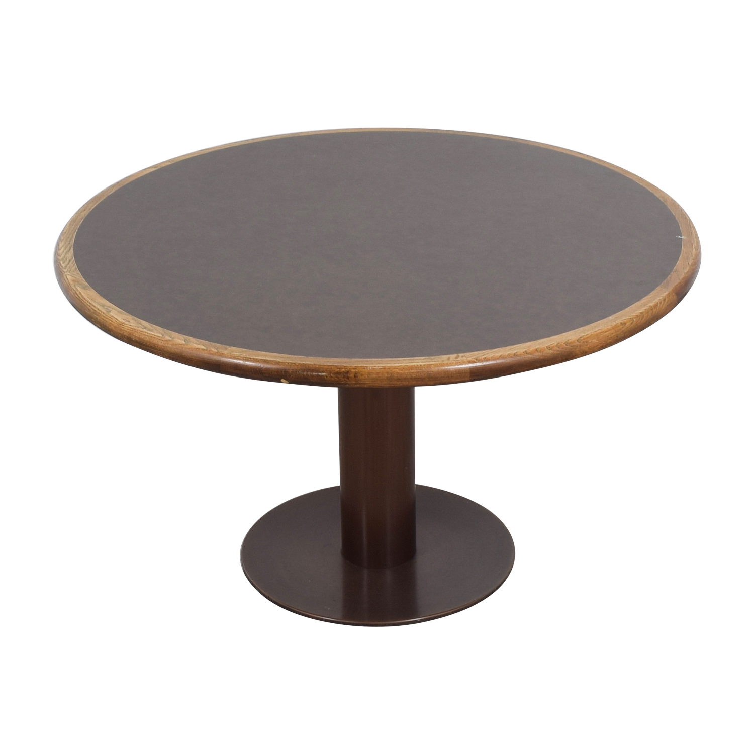 Round Wood & Metal Dining Table