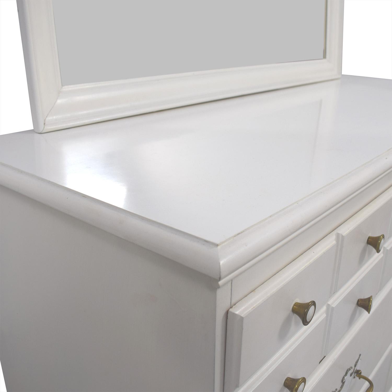 White Wooden Six Drawer Dresser And Mirror