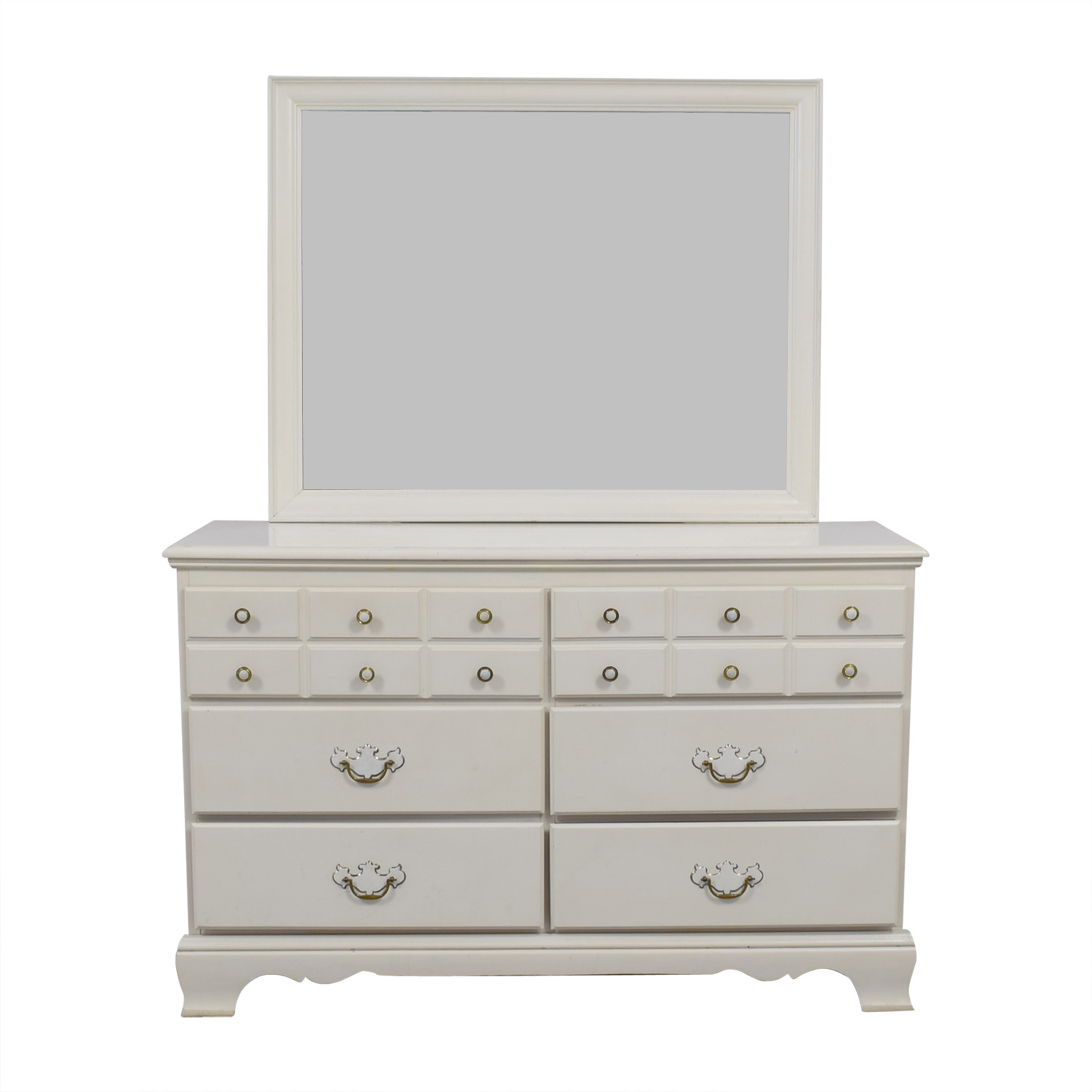 White Wooden Six-Drawer Dresser and Mirror / Sofas