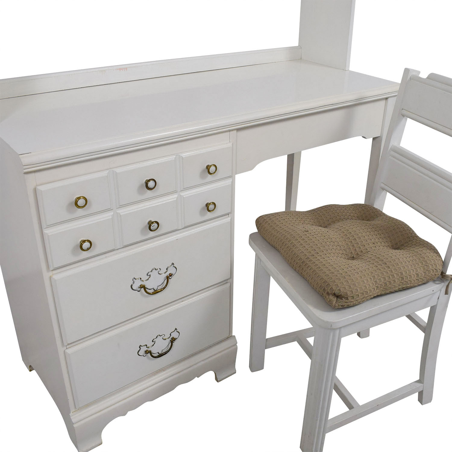 shop Lea White Wood Three-Drawer Desk with Hutch and Chair Lea Tables