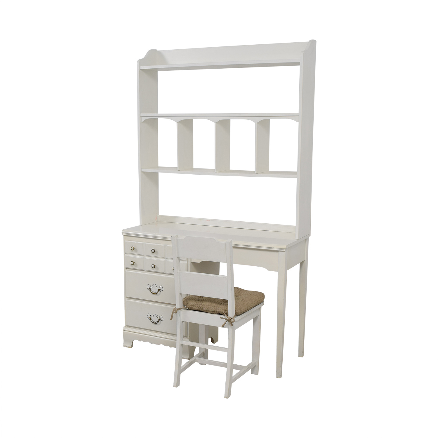Lea White Wood Three-Drawer Desk with Hutch and Chair / Home Office Desks