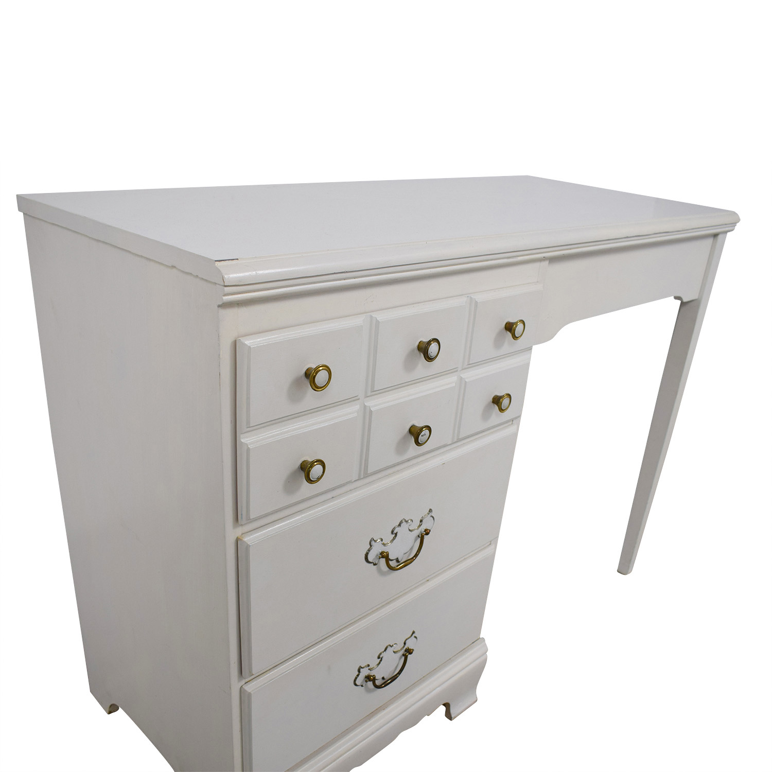 shop Lea White Wood Three-Drawer Desk with Hutch and Chair Lea