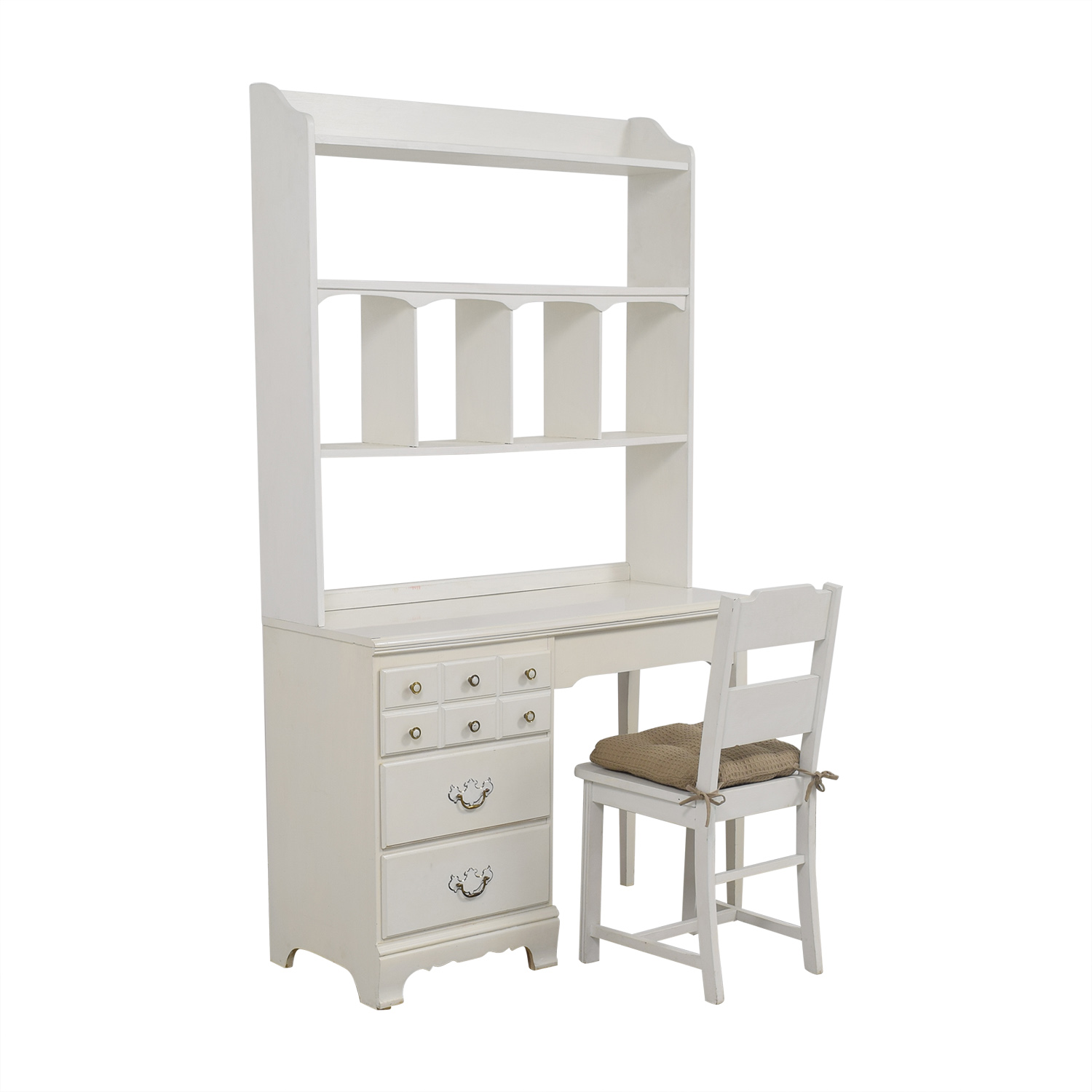 Lea Lea White Wood Three-Drawer Desk with Hutch and Chair Tables
