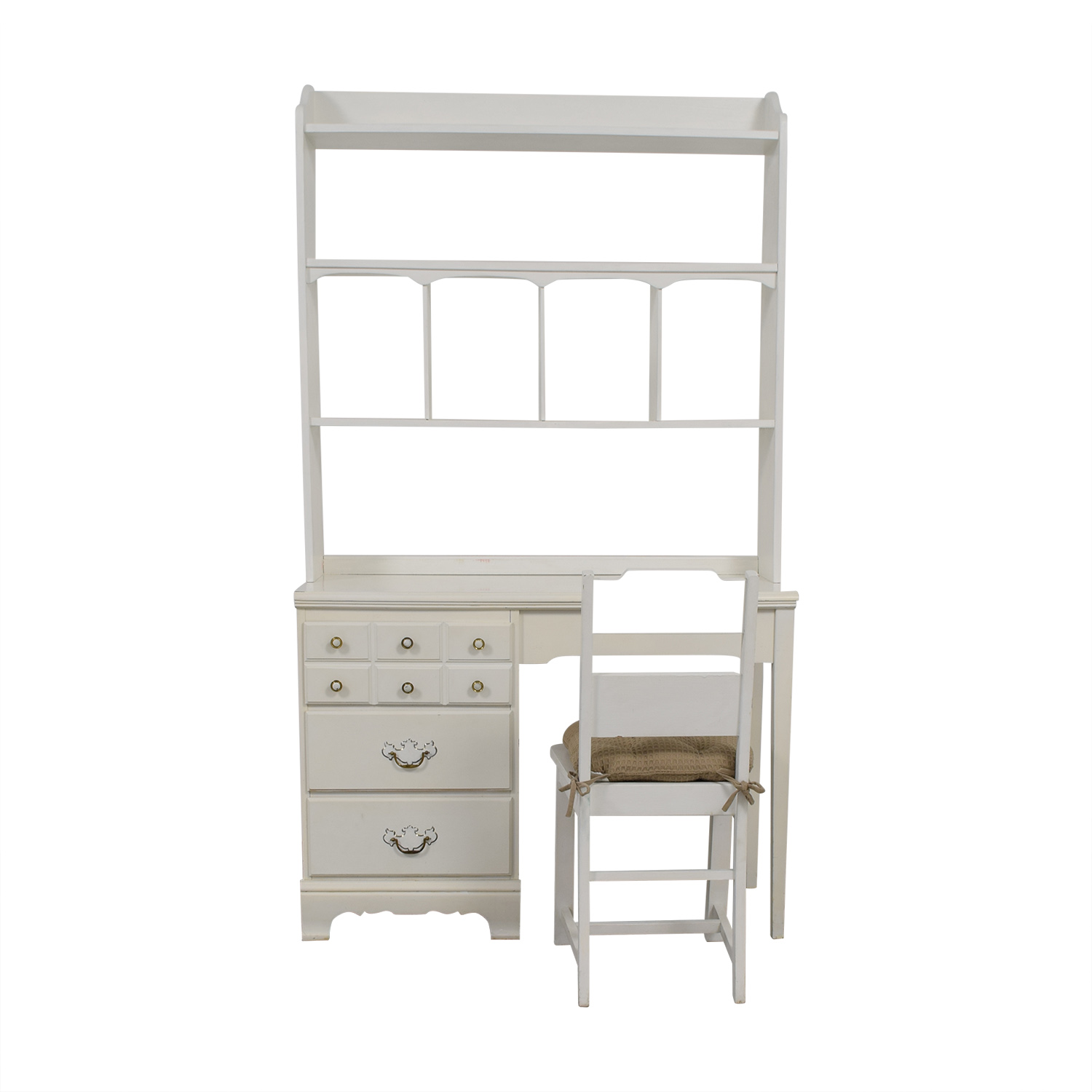 shop Lea Lea White Wood Three-Drawer Desk with Hutch and Chair online