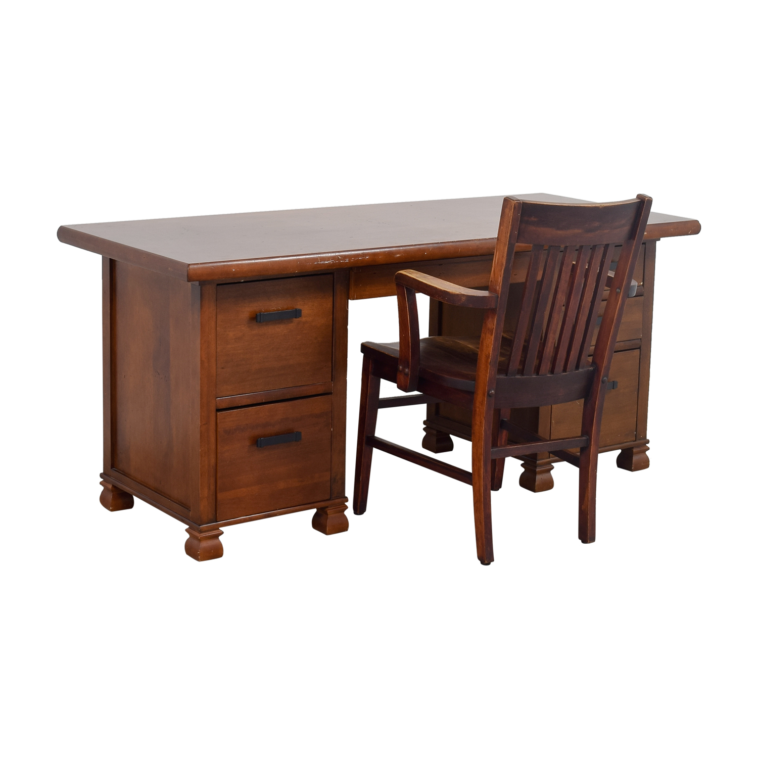 Pottery Barn Wooden Cherry Desk With Chair Home Office Desks