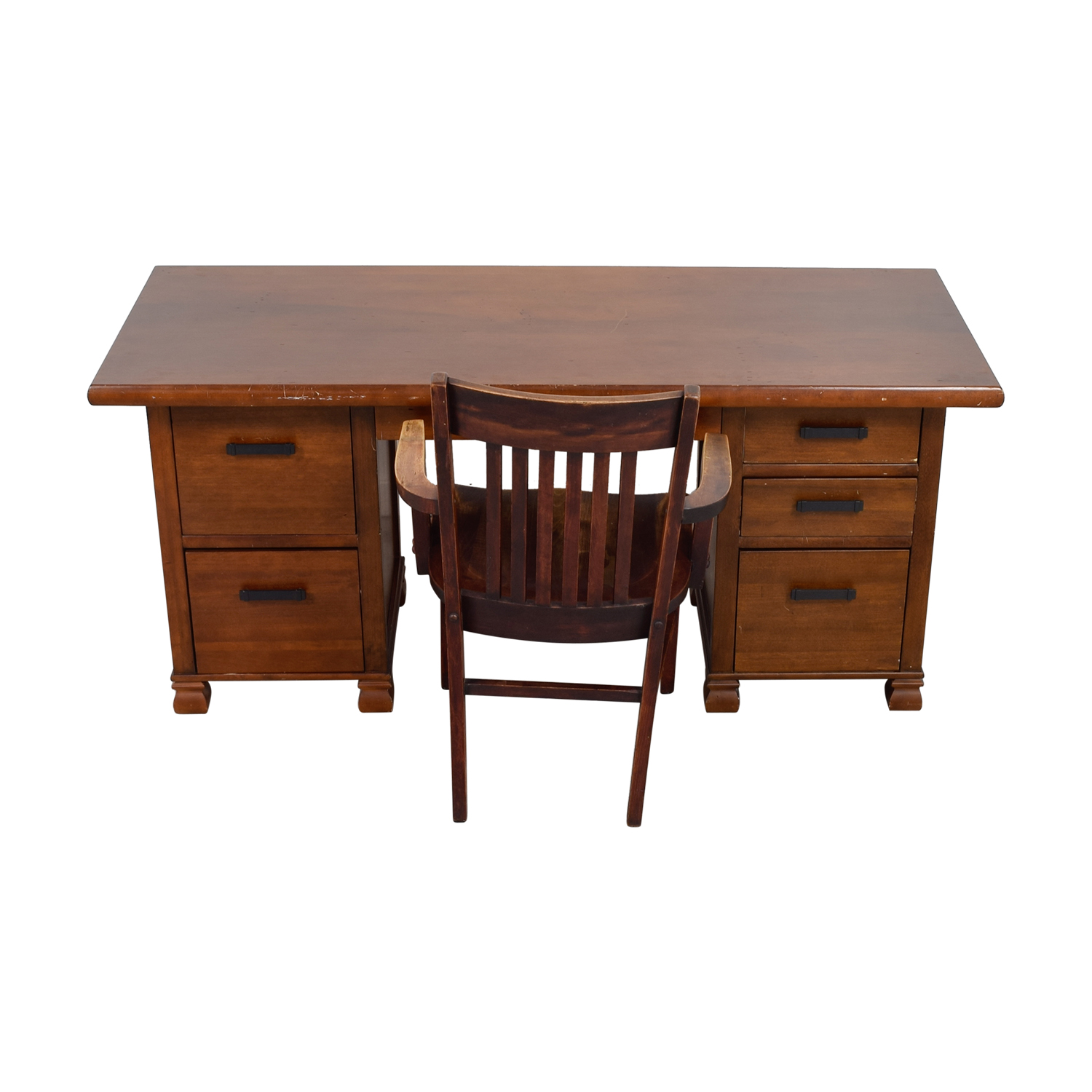 90 Off Pottery Barn Pottery Barn Wooden Cherry Desk With Chair