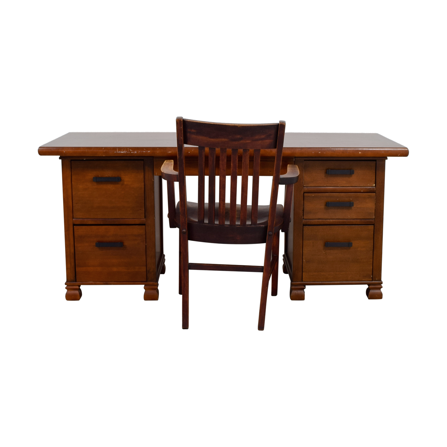 buy Pottery Barn Pottery Barn Wooden Cherry Desk with Chair online