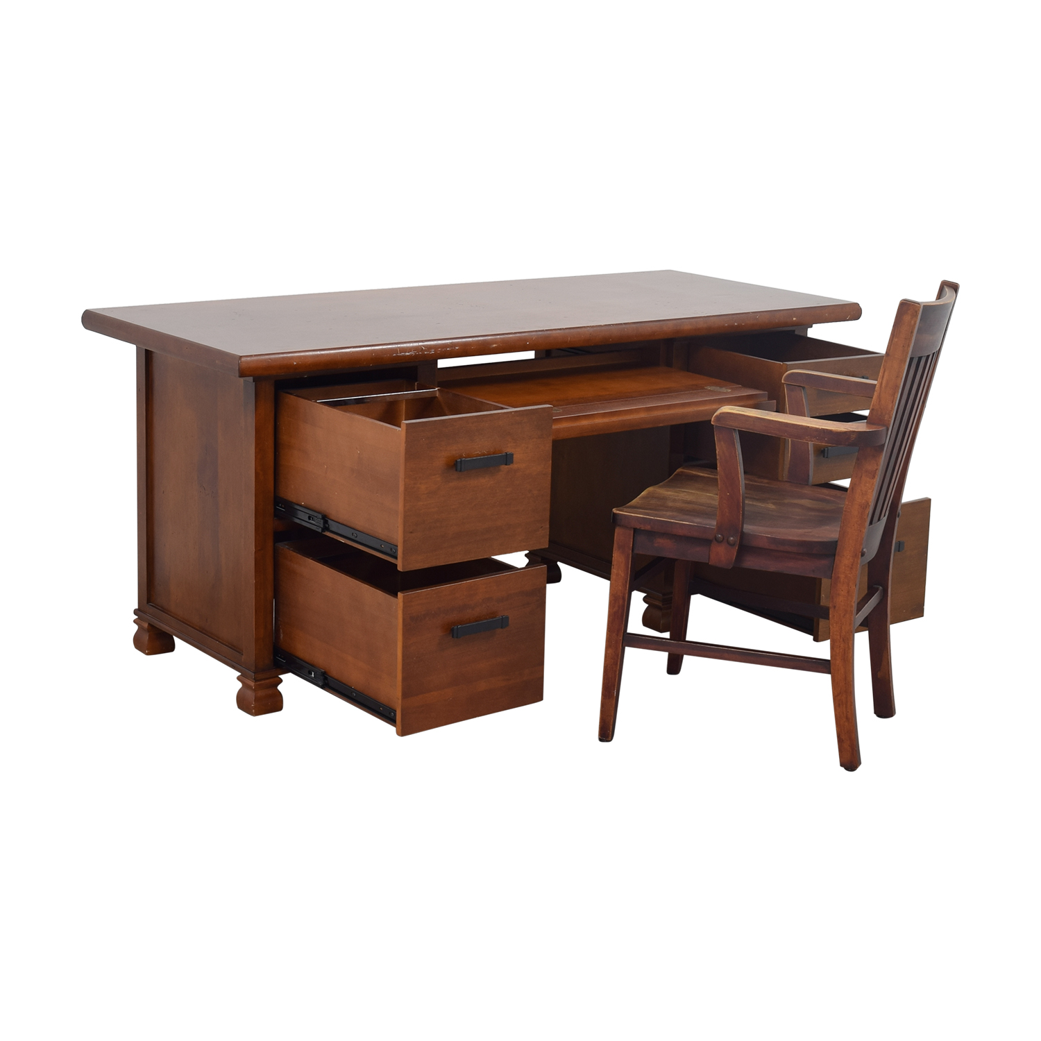 Pottery Barn Pottery Barn Wooden Cherry Desk with Chair discount