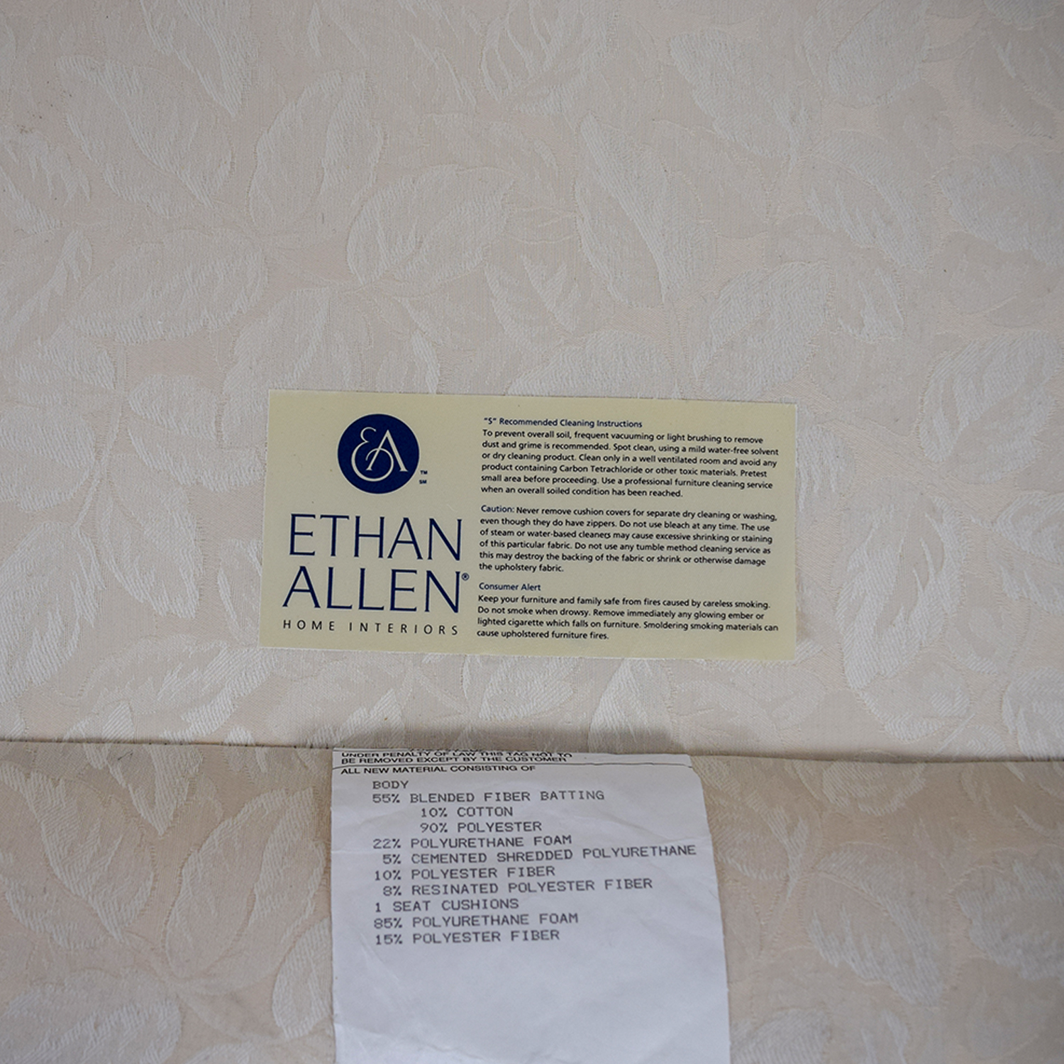 Ethan Allen Ethan Allen White Love Seat with Floral Pillows coupon