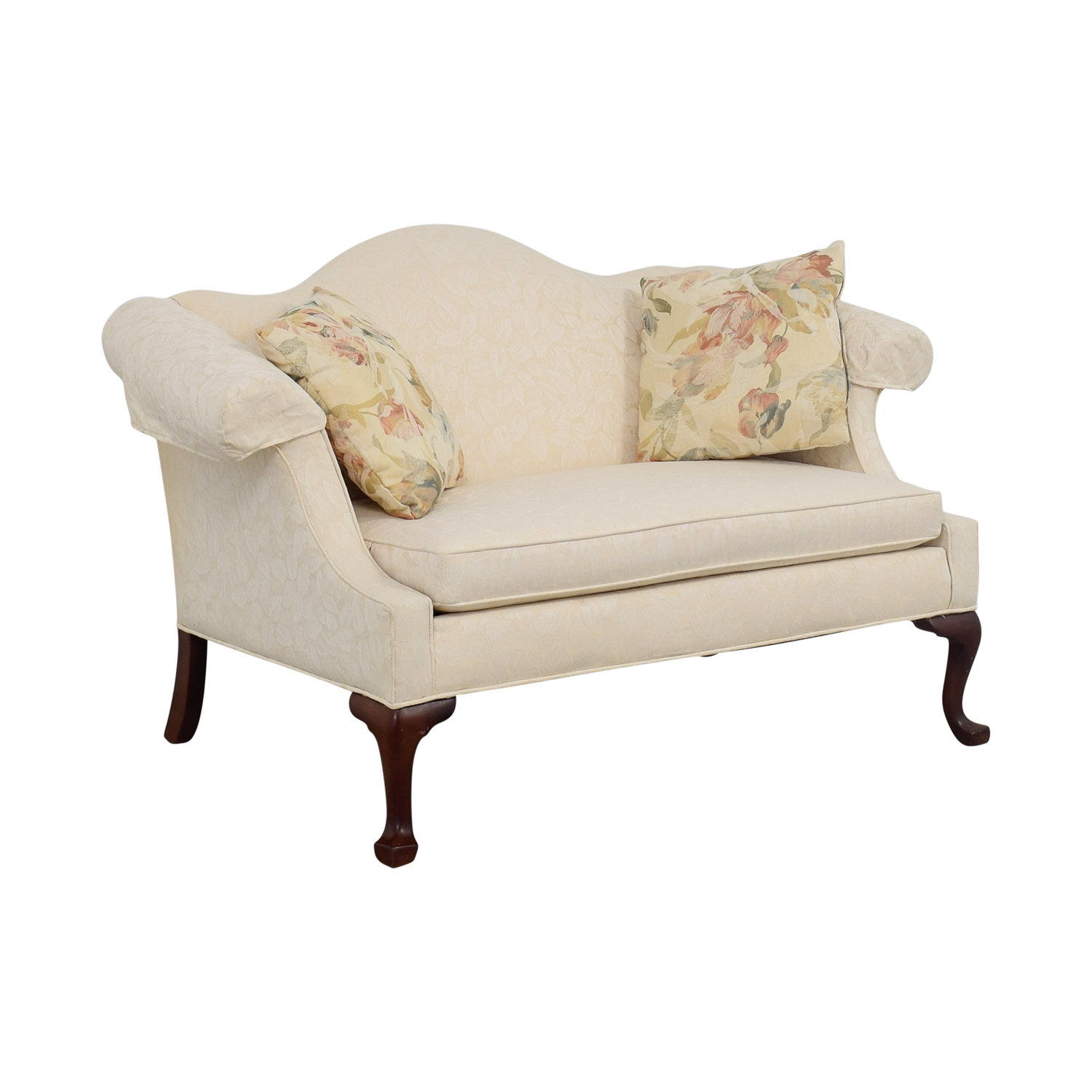 Ethan Allen White Love Seat with Floral Pillows sale